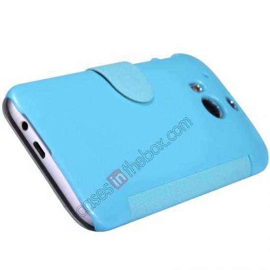top quality Nillkin Fresh Series View Window Folio Leather Case for HTC One 2 M8 - Blue