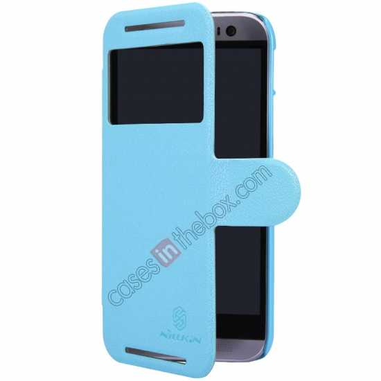 best price Nillkin Fresh Series View Window Folio Leather Case for HTC One 2 M8 - Blue