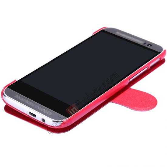 cheap Nillkin Fresh Series View Window Folio Leather Case for HTC One 2 M8 - Red