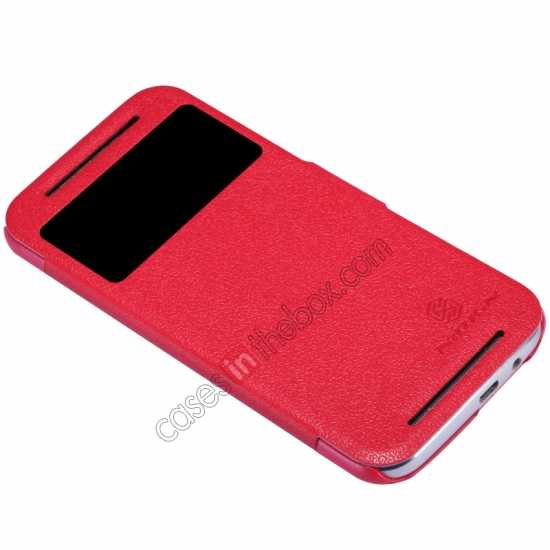 best price Nillkin Fresh Series View Window Folio Leather Case for HTC One 2 M8 - Red