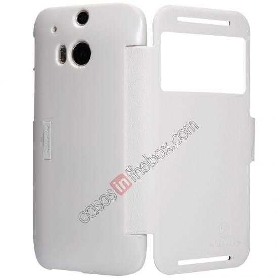 cheap Nillkin Fresh Series View Window Folio Leather Case for HTC One 2 M8 - White