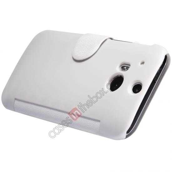top quality Nillkin Fresh Series View Window Folio Leather Case for HTC One 2 M8 - White