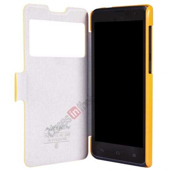 discount Nillkin Fresh Series View Window Folio Leather Case for HUAWEI C8816 - Yellow