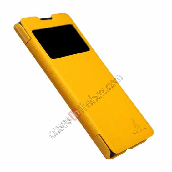 top quality Nillkin Fresh Series View Window Folio Leather Case for HUAWEI C8816 - Yellow