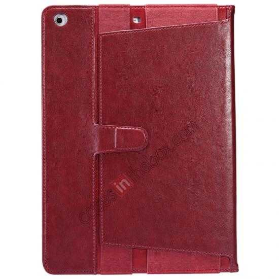 discount NILLKIN Meden Leather Flip Stand Case Cover for iPad Air - Wine Red