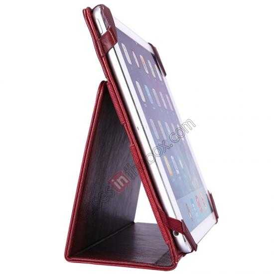 top quality NILLKIN Meden Leather Flip Stand Case Cover for iPad Air - Wine Red