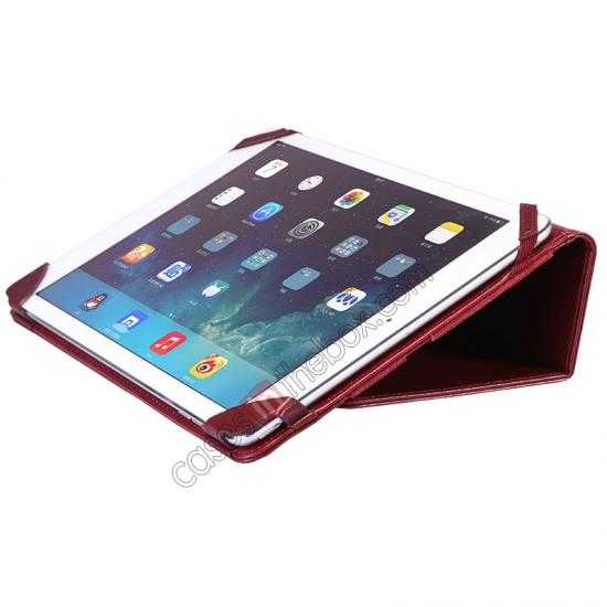 best price NILLKIN Meden Leather Flip Stand Case Cover for iPad Air - Wine Red