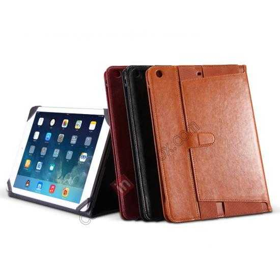 on sale NILLKIN Meden Leather Flip Stand Case Cover for iPad Air - Wine Red