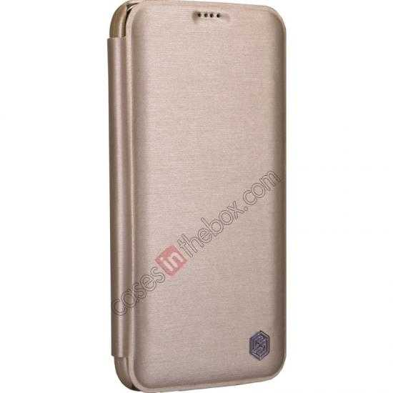 best price Nillkin Rain Series Side Flip Leather Case for Samsung Galaxy S5 - Champagne
