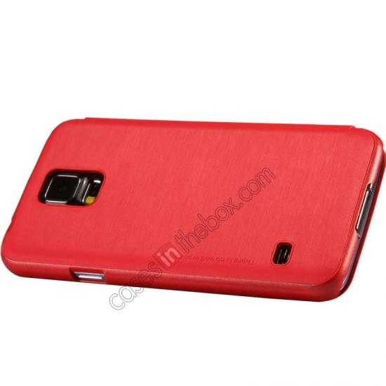 best price Nillkin Rain Series Side Flip Leather Case for Samsung Galaxy S5 - Red