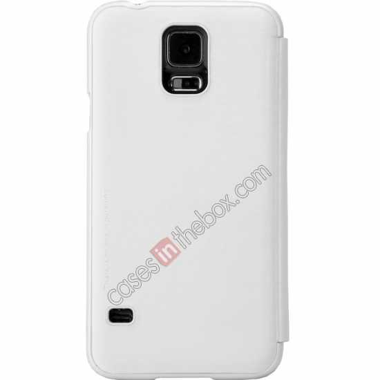 best price Nillkin Rain Series Side Flip Leather Case for Samsung Galaxy S5 - White