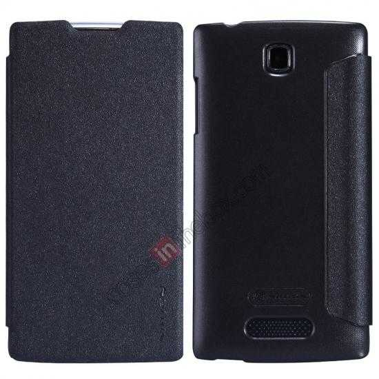 wholesale Nillkin Sparkle Series Side Flip Leather Case for OPPO R831T - Black