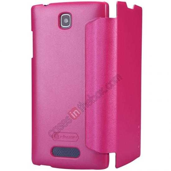 top quality Nillkin Sparkle Series Side Flip Leather Case for OPPO R831T - Rose