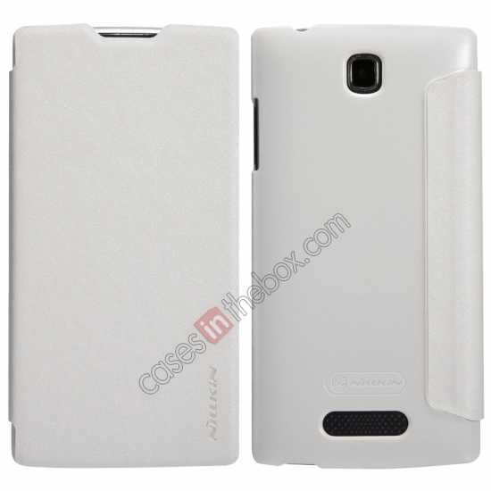 wholesale Nillkin Sparkle Series Side Flip Leather Case for OPPO R831T - White