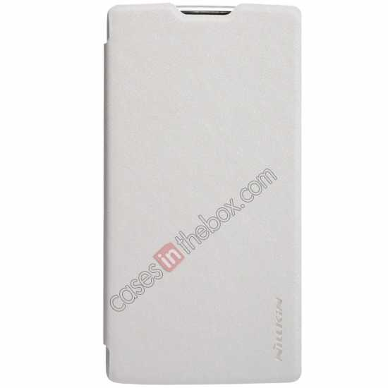 discount Nillkin Sparkle Series Side Flip Leather Case for OPPO R831T - White