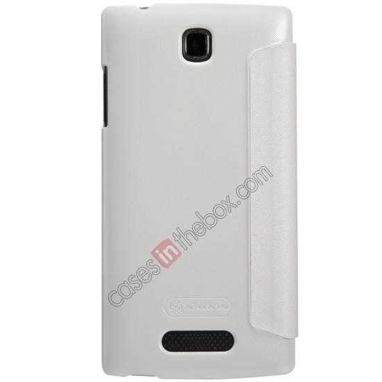 cheap Nillkin Sparkle Series Side Flip Leather Case for OPPO R831T - White