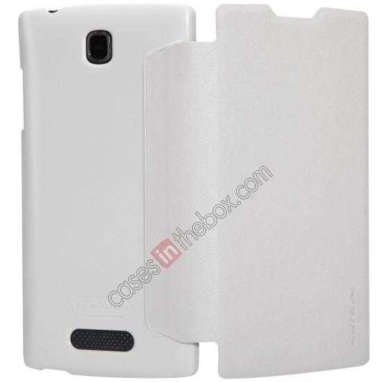 top quality Nillkin Sparkle Series Side Flip Leather Case for OPPO R831T - White