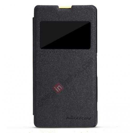 wholesale NILLKIN Sparkle Series Slim Flip Leather Case For Sony Xperia Z1 Compact(M51W)  - Black