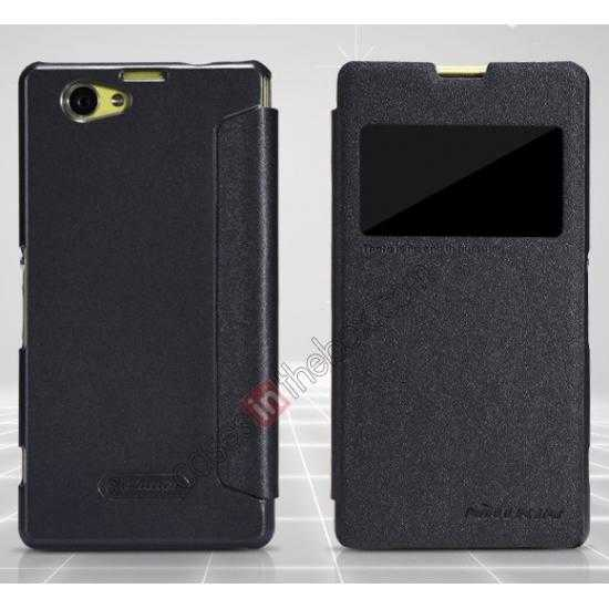 best price NILLKIN Sparkle Series Slim Flip Leather Case For Sony Xperia Z1 Compact(M51W)  - Black