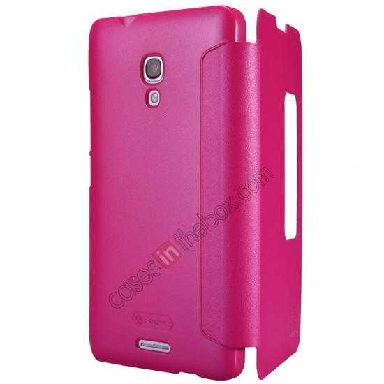 discount Nillkin Sparkle Series View Window Flip Leather Case for HUAWEI MATE 2 - Rose Red