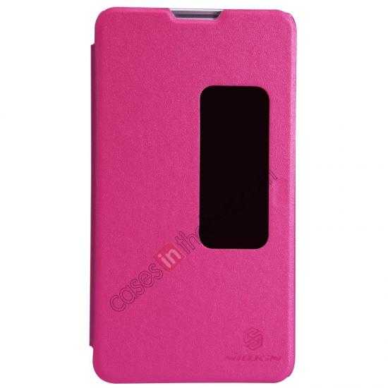wholesale Nillkin Sparkle Series View Window Flip Leather Case for HUAWEI MATE 2 - Rose Red