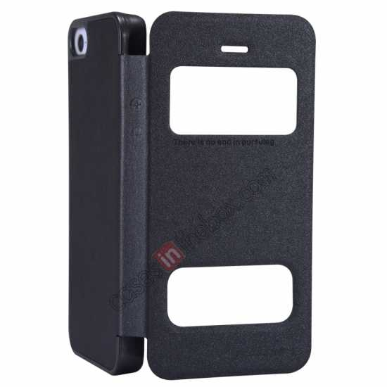 top quality Nillkin Sparkle Series View Window Flip Leather Case for iPhone 5S/5 - Black