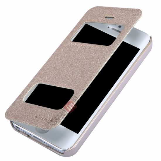 top quality Nillkin Sparkle Series View Window Flip Leather Case for iPhone 5S/5 - Champaign Gold