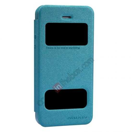 best price Nillkin Sparkle Series View Window Flip Leather Case for iPhone 5S/5 - Ocean Green