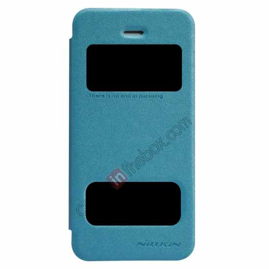 wholesale Nillkin Sparkle Series View Window Flip Leather Case for iPhone 5S/5 - Ocean Green