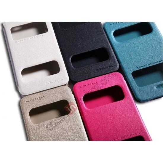 low price Nillkin Sparkle Series View Window Flip Leather Case for iPhone 5S/5 - Ocean Green