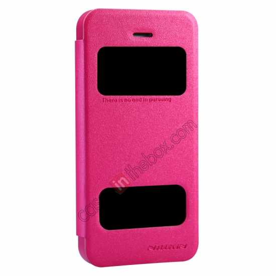 discount Nillkin Sparkle Series View Window Flip Leather Case for iPhone 5S/5 - Rose Red