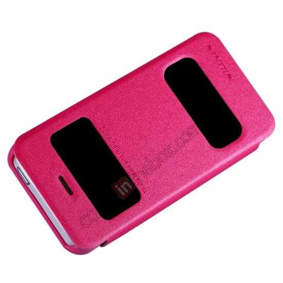 cheap Nillkin Sparkle Series View Window Flip Leather Case for iPhone 5S/5 - Rose Red