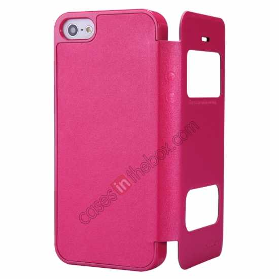top quality Nillkin Sparkle Series View Window Flip Leather Case for iPhone 5S/5 - Rose Red