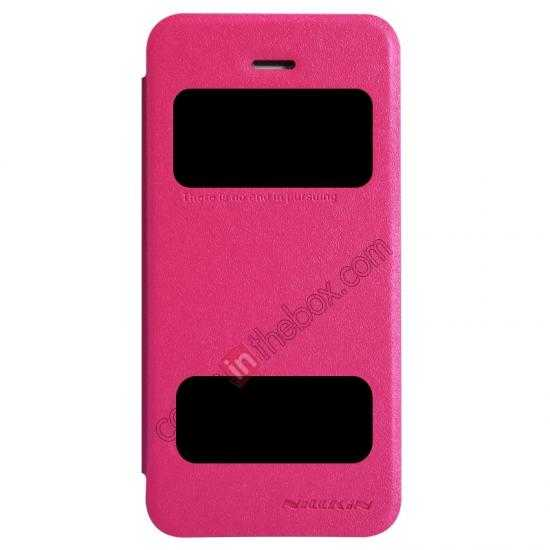 wholesale Nillkin Sparkle Series View Window Flip Leather Case for iPhone 5S/5 - Rose Red