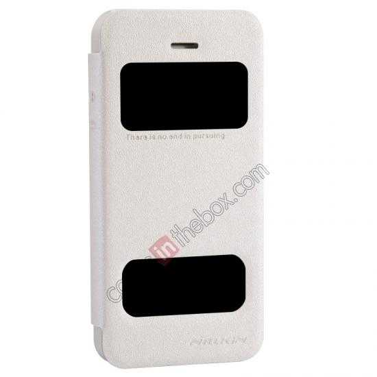 top quality Nillkin Sparkle Series View Window Flip Leather Case for iPhone 5S/5 - White