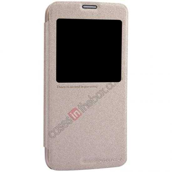 top quality Nillkin Sparkle Series View Window Flip Leather Case for Samsung Galaxy S5 G900 - Champaign Gold