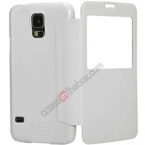 top quality Nillkin Sparkle Series View Window Flip Leather Case for Samsung Galaxy S5 G900 - White