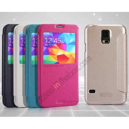 on sale Nillkin Sparkle Series View Window Flip Leather Case for Samsung Galaxy S5 G900 - White
