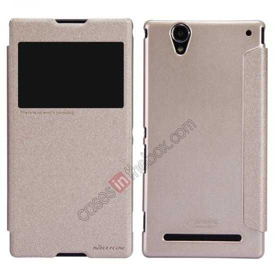 wholesale Nillkin Sparkle Series View Window Flip Leather Case for Sony Xperia T2 Ultra XM50h - Champaign Gold