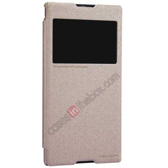 on sale Nillkin Sparkle Series View Window Flip Leather Case for Sony Xperia T2 Ultra XM50h - Champaign Gold