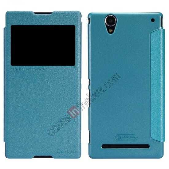 wholesale Nillkin Sparkle Series View Window Flip Leather Case for Sony Xperia T2 Ultra XM50h - Ocean Green