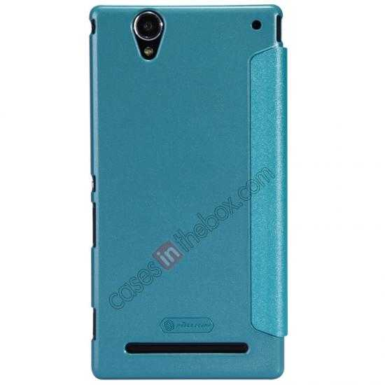 top quality Nillkin Sparkle Series View Window Flip Leather Case for Sony Xperia T2 Ultra XM50h - Ocean Green