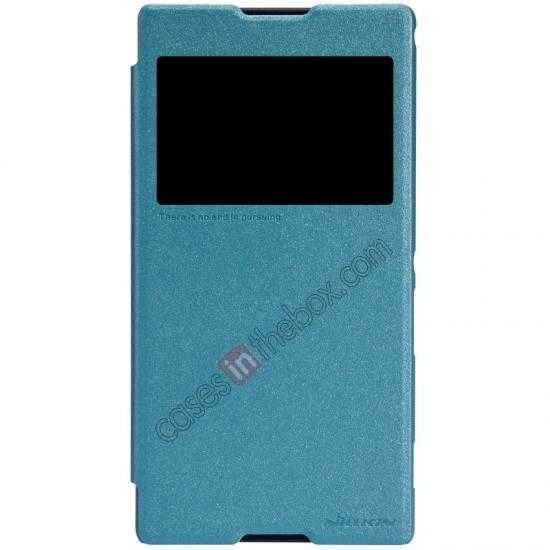 on sale Nillkin Sparkle Series View Window Flip Leather Case for Sony Xperia T2 Ultra XM50h - Ocean Green
