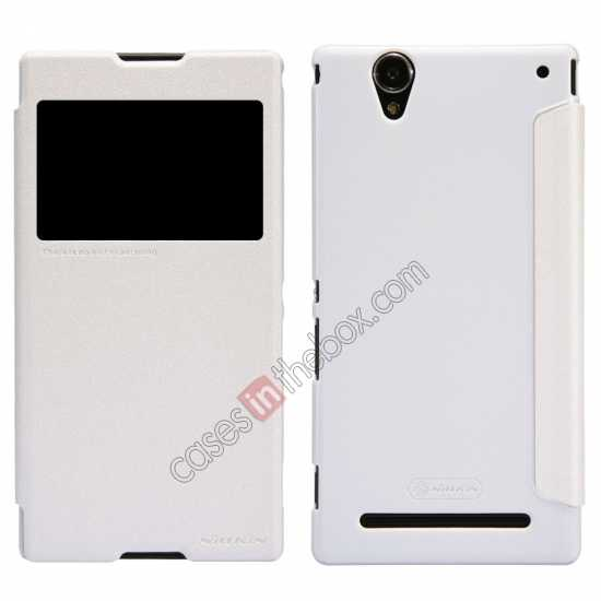 wholesale Nillkin Sparkle Series View Window Flip Leather Case for Sony Xperia T2 Ultra XM50h - White