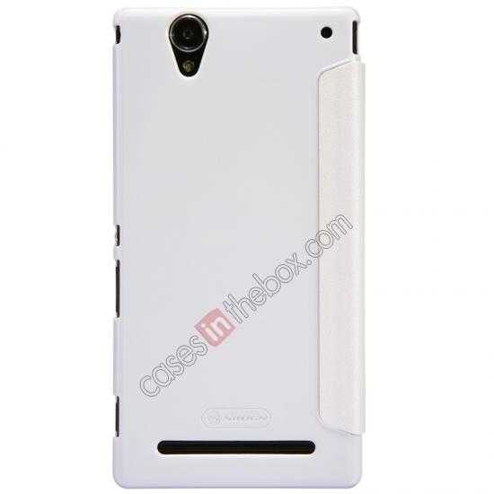 top quality Nillkin Sparkle Series View Window Flip Leather Case for Sony Xperia T2 Ultra XM50h - White