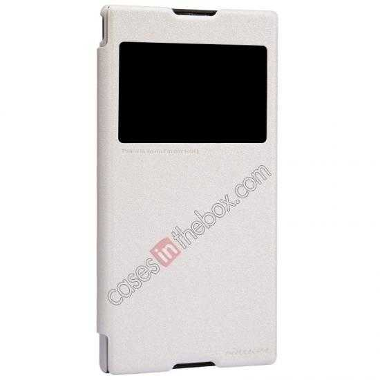 best price Nillkin Sparkle Series View Window Flip Leather Case for Sony Xperia T2 Ultra XM50h - White
