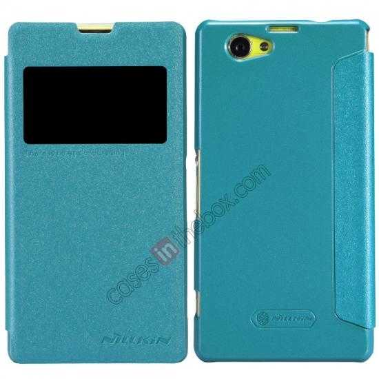 wholesale Nillkin Sparkle Series View Window Flip Leather Case for Sony Xperia Z1 Compact M51W - Blue