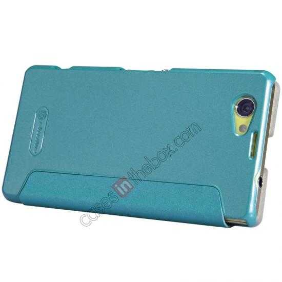 top quality Nillkin Sparkle Series View Window Flip Leather Case for Sony Xperia Z1 Compact M51W - Blue