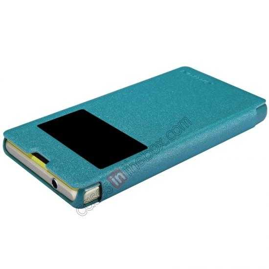 best price Nillkin Sparkle Series View Window Flip Leather Case for Sony Xperia Z1 Compact M51W - Blue