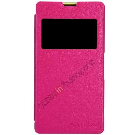 discount Nillkin Sparkle Series View Window Flip Leather Case for Sony Xperia Z1 Compact M51W - Red